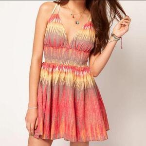 Free People Coral Indian Summer Lurex Mini Dress